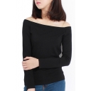 Long Sleeve Off-the-Shoulder Style Plain Cotton Tee