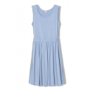 Ruched Bottom Cutout Waist Back Sky Blue Tanks Dress