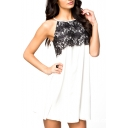 White Lace Crochet Round Neck Sleeveless Dress