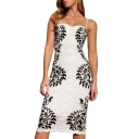 Lace Crochet Spaghetti Straps Fitted Knee Dress