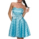 Mesh Striped Strapless A-Line Dress with Bow-Tie Waist