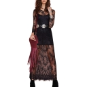 Sheer Lace Sexy Long Sleeve Belted Maxi Dress