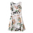 Round Neck Sleeveless A-line Slim Flower Print White Cotton Dress