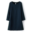 Navy Print Round Neck Short Sleeve Cutout Back Dress