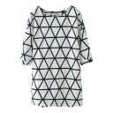 White 1/2 Sleeve Geometry Pattern Round Neck Dress