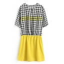Houndstooth Print Short Sleeve Gathered Waist Dress