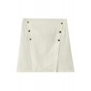 White Plain Double-Breast Mini Skirt