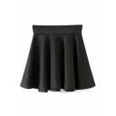 Black High Waist Ruffle Hem Pleated Skirt