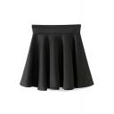 Black High Waist Ruffle Hem Pleated Skirt
