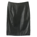 Black PU Midi Pencil Skirt