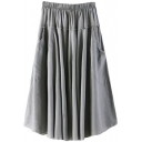 Gray Double Pockets A-line Midi Skirt