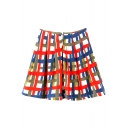 Colorful Plaid Print A-Line Mini Skirt
