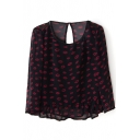 Black Long Sleeve Red Lips Ruffle Hem Chiffon Blouse