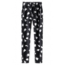 Print Drawstring Waist Zip Pocket Harem Pants