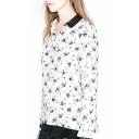 White PU Collar Floral Print Chiffon Blouse