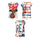 Flag and Letter Print Short Sleeve Tunic Tee