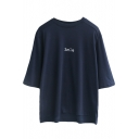Dark Blue 1/2 Sleeve Smile Print Loose T-Shirt