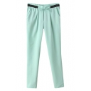 Green PU Insert Knotted Waist Harem Pants