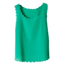 Women's Chiffon Scalloped Neckline Blouse Tank Top Shirt Vest