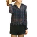 Plaid Print Contrast Collar Long Sleeve Blouse