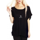 Black Short Sleeve Roll Cuff Virgo T-Shirt