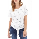 Cute Cat Print Short Sleeve Knotted Waist Tee