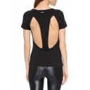 Back Symmetry Cutout Black T-Shirt