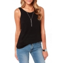 Black Plain Elastic Deep V-Back Tank
