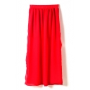 Red Elastic Waist Split Hem Chiffon Skirt