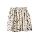 Cream Background Polka Dot Print Chiffon Skater Skirt