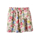 Pink Color Ink Flower Print Chiffon Skater Skirt