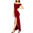 Red Off-The-Shoulder Cutout Back Maxi Split Dress
