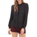 Black Long Sleeve Ruched Chiffon Blouse