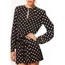 Black Long Sleeve White Polka Dot Keyhole Rompers