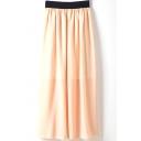 Elastic Waist Chiffon High Waist Maxi Skirt