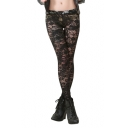 Black Lace Cutwork Fashionable Street Style Leggings