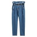 Dark Blue Wash High Waist  Loose Harem Jeans