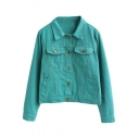 Bright Color Plain Single-Breasted Cropped Denim Jacket