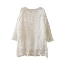 Elegant Floral Pattern Lace Crochet White Plain Dress