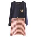 Stripe Insert Long Sleeve Lace Crochet Drawstring Waist Dress