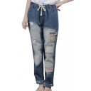 Butterfly Embroidered Ripped Elastic Waist Wide Leg Jeans
