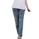 Embroidered Pattern Elastic Waist Color Block Trim Jeans