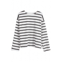 Mono Horizontal Stripe Batwing Sleeve Concise Tee