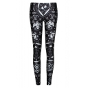Black Mystery Print High Waist Elastic Leggings