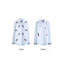 White Cartoon Character Floral Embroidered Lapel Stripe Sleeve Shirt