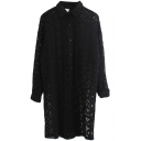 Geometric Pattern Lace Cutwork Longline Shirt