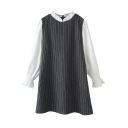 Vertical Stripe Pattern Preppy Style Stand Collar Gray Dress