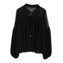 Plain Lace Insert Cutout Bows Pleated Blouse in Loose Fit