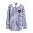 Blue-White Stripe Print Bow Smile Face Embroidered Shirt