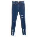 Plain Distressed Open Knees Zipper Flt Fitted Jeans